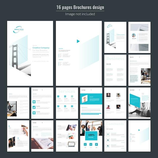 Modello di brochure aziendale di 16 pagine Vettore Premium