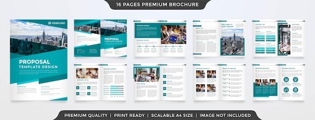 Modello di brochure aziendale minimalista Vettore Premium