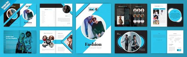 Modello di brochure banner di moda per stile futuro con ritratto Vettore Premium