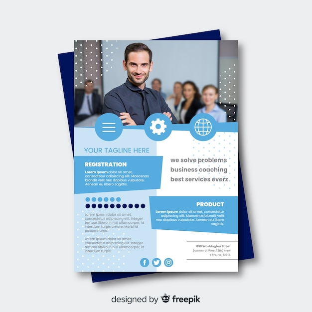 Modello di brochure di business plan piatta Vettore gratuito