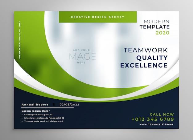 Modello di brochure di presentazione aziendale ondulato verde Vettore gratuito