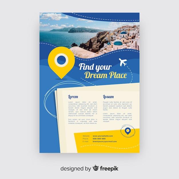 Modello di brochure di viaggio fotografico Vettore gratuito
