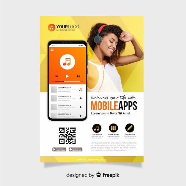 Modello di brochure per app mobile Vettore gratuito