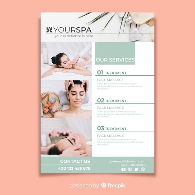 Modello di brochure spa con foto Vettore gratuito