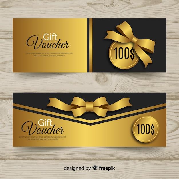 Modello di buono regalo elegante con stile dorato Vettore gratuito