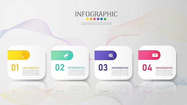 Modello di business 4 opzioni o passaggi elemento grafico infografica. Vettore Premium