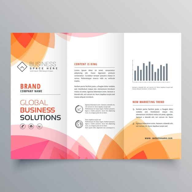 modello di business brochure a tre ante con rosa e arancio Vettore gratuito