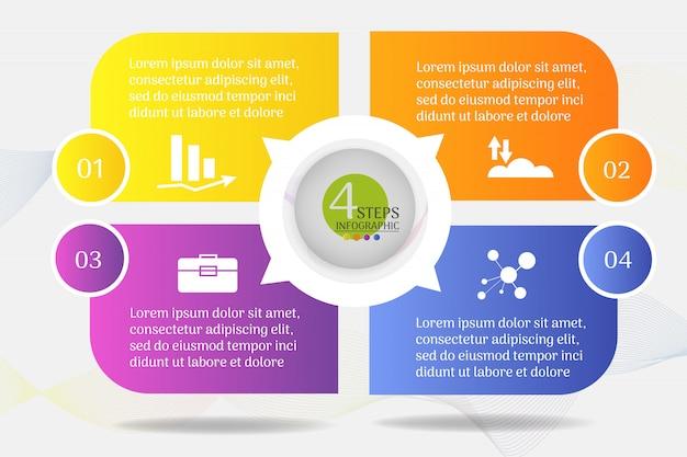 Modello di business design 4 opzioni o passaggi elemento grafico infografica. Vettore Premium
