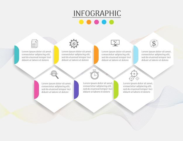 Modello di business design 7 passaggi elemento grafico infografica. Vettore Premium