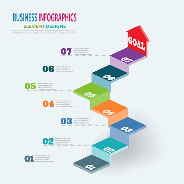 Modello di business infografica 3d scale con i passaggi freccia per presentazione, previsioni di vendita, web design, miglioramento, passo dopo passo Vettore Premium