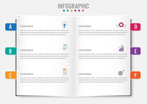 Modello di business infografica con 6 opzioni Vettore Premium