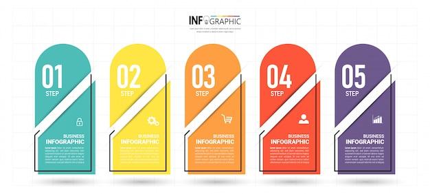 Modello di business infografica con cinque passaggi Vettore Premium