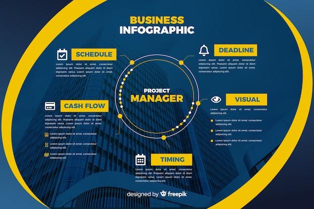 Modello di business infografica con foto Vettore gratuito