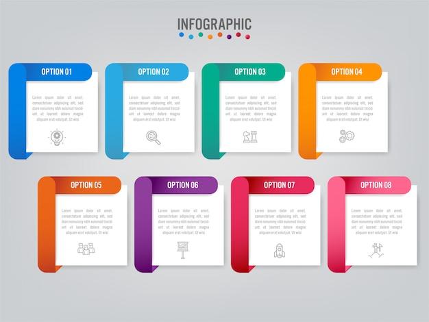 Modello di business infografica con opzioni. Vettore Premium