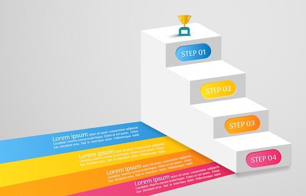 Modello di business infografica con opzioni Vettore Premium