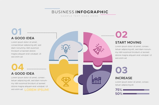 Modello di business infografica con puzzle Vettore gratuito