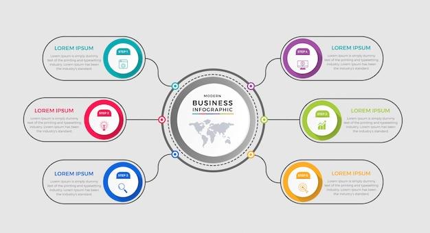 Modello di business infografica. design a linea sottile con numeri 6 opzioni o passaggi. Vettore Premium