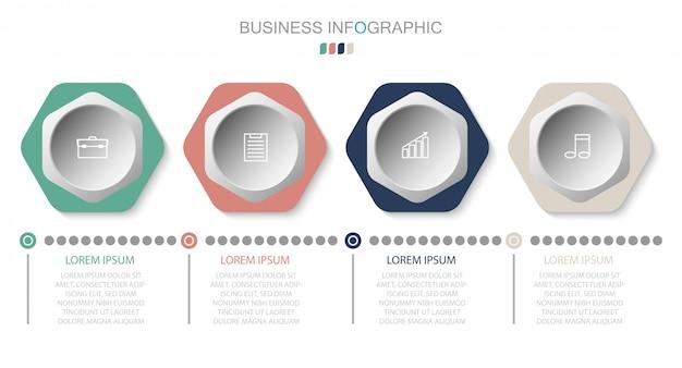 Modello di business infografica. design sottile linea con numeri 4 opzioni o passaggi. elemento di infografica vettoriale Vettore Premium