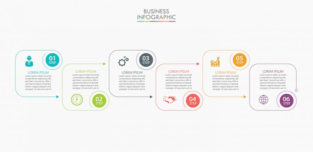 Modello di business infografica presentazione con 6 opzioni. Vettore Premium