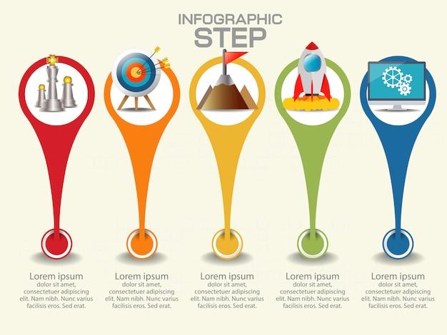 Modello di business infografica. visualizzazione dati. Vettore Premium