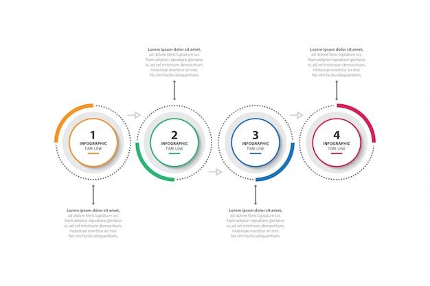Modello di business infographic colorato con 4 opzioni Vettore Premium
