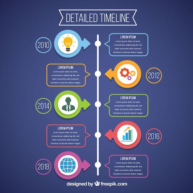 Modello di business timeline con stile infografica Vettore gratuito