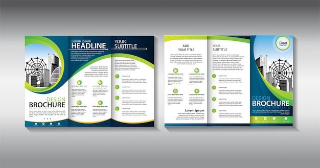 Modello di business trifold verde brochure Vettore Premium