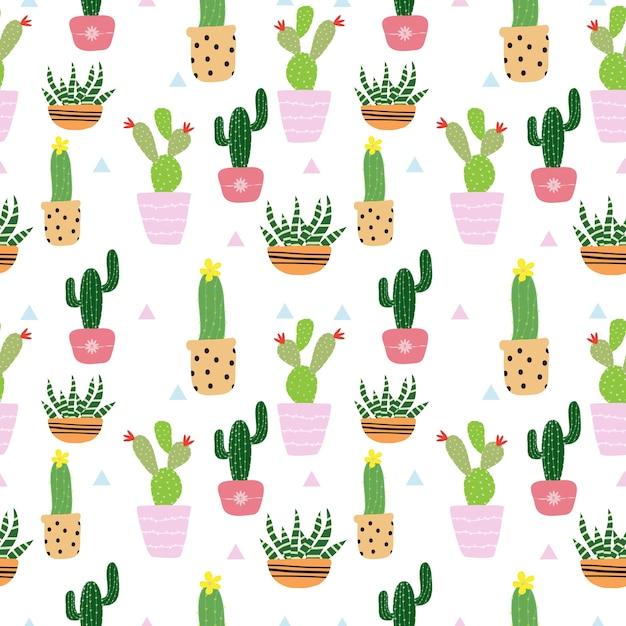 Modello di cactus carino senza soluzione di continuità Vettore Premium