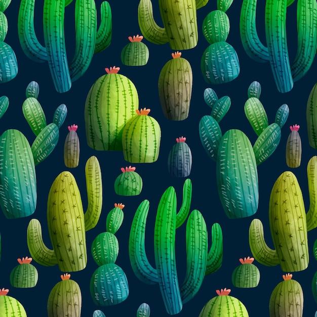Modello di cactus colorato Vettore gratuito