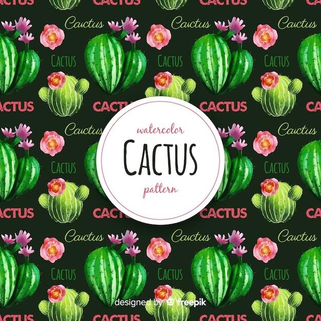 Modello di cactus dell'acquerello Vettore gratuito
