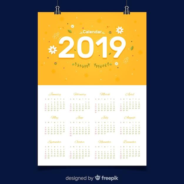 Calendario 2019 Moderno.Modello Di Calendario 2019 Moderno Con Design Piatto