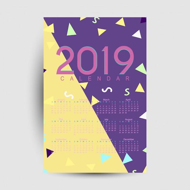 Modello di calendario 2019 Vettore Premium