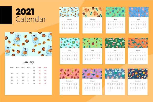 Modello di calendario 2021 illustrato | Vettore Gratis