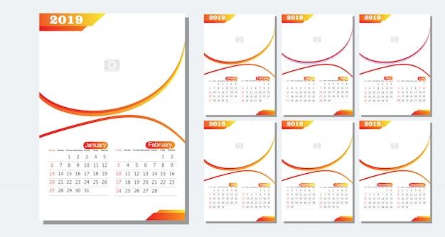 Calendario 12 Mesi.Modello Di Calendario Da Tavolo 2019 12 Mesi Inclusi