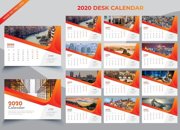 Modello di calendario da tavolo 2020 Vettore Premium