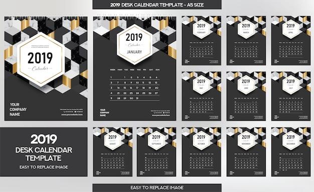 Modello di calendario da tavolo in marmo 2019 Vettore Premium