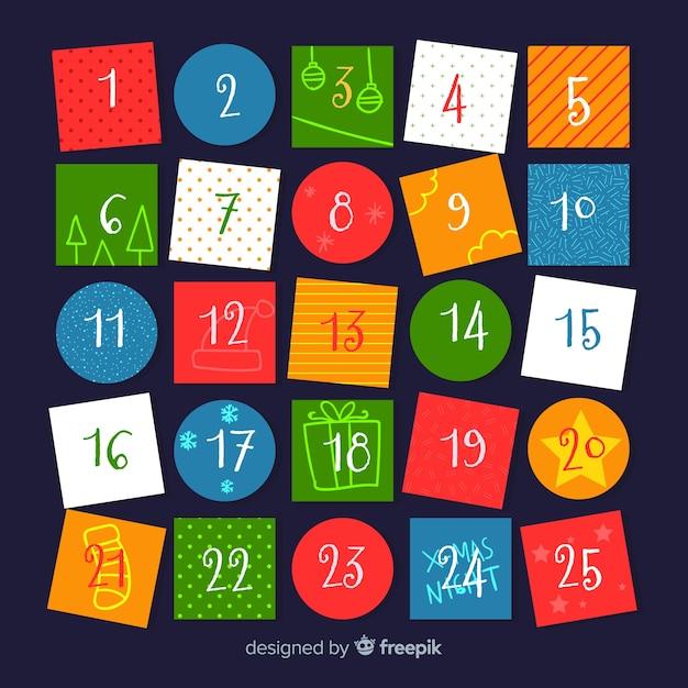 Modello di calendario di natale colorato Vettore gratuito