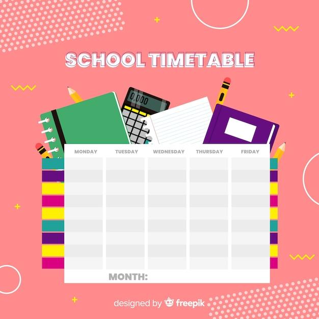 Modello di calendario scuola design piatto Vettore gratuito