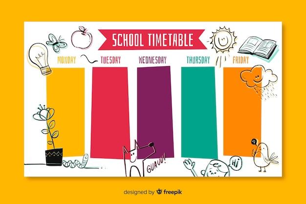 Modello di calendario scuola disegnata a mano Vettore gratuito