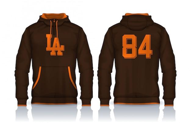 Modello di camicie con cappuccio.jacket design, abbigliamento sportivo vista frontale e posteriore. Vettore Premium