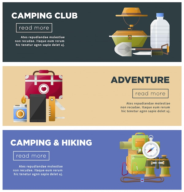 Modello di campeggio delle insegne di web di vettore del club del campeggio estivo Vettore Premium