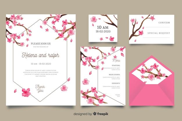 Modello di cancelleria di nozze rosa dell'acquerello Vettore gratuito