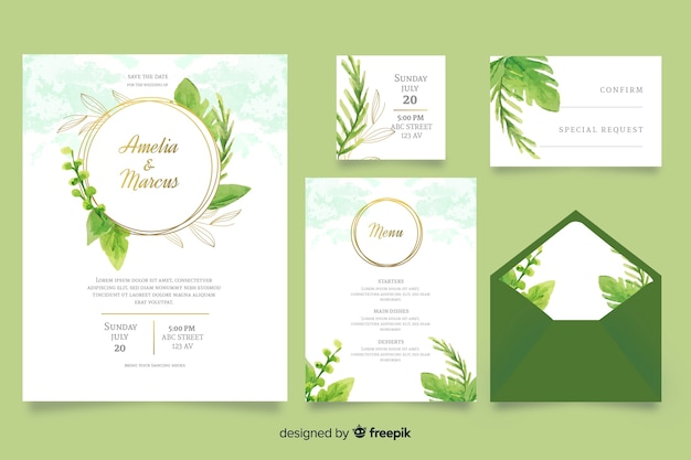 Modello di cancelleria di nozze verde dell'acquerello Vettore gratuito