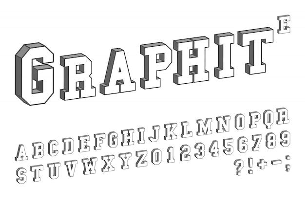 Modello di carattere 3d. disegno isometrico di lettere e numeri. illustrazione vettoriale Vettore Premium