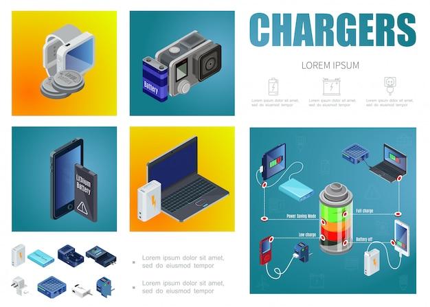 Modello di caricabatterie isometrica con power bank moderne fonti di ricarica spine batterie per smartwatches fotocamera portatile laptop Vettore gratuito