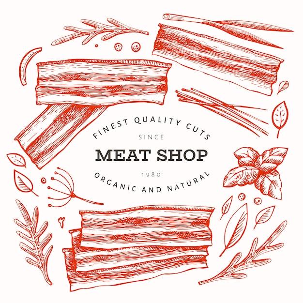 Modello di carne retrò. Vettore Premium