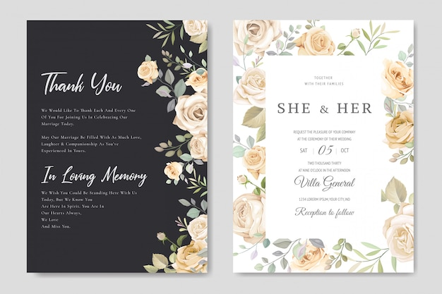 Modello di carta bella cornice floreale invito a nozze Vettore Premium