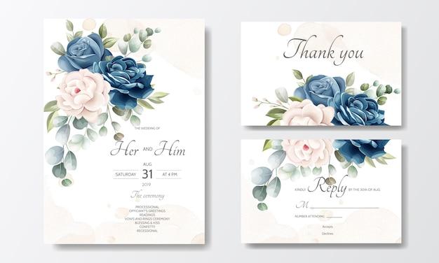 Modello di carta bella corona floreale invito a nozze Vettore Premium