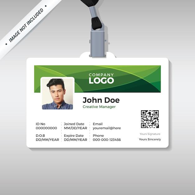 Modello di carta d'identità aziendale con forme di curva verde Vettore Premium
