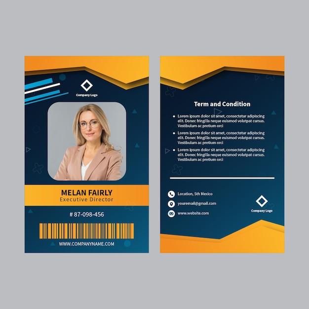 Modello di carta d'identità aziendale Vettore gratuito